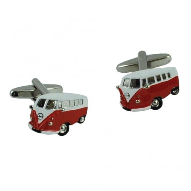 Red Camper Van Novelty Cufflinks