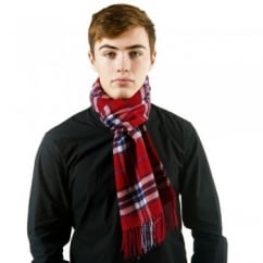 Red Check Patterned 100% Wool Scarf