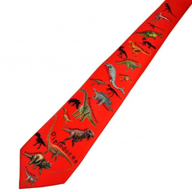 Red Dinosaurs Patterned Boys Skinny Tie