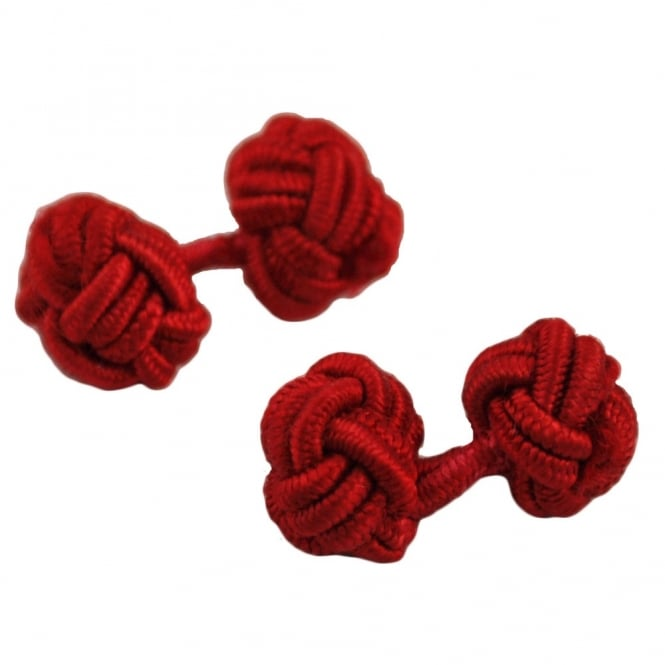 red elastic knot cufflinks