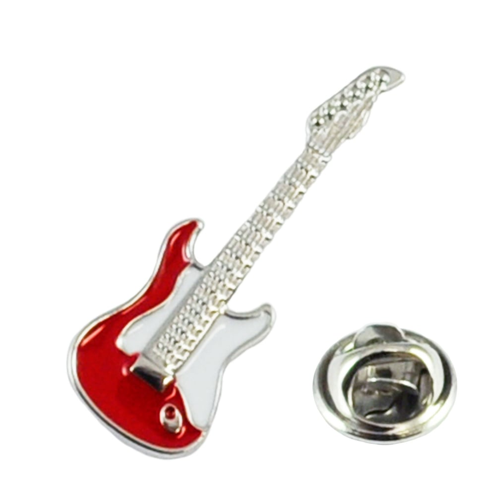red electric guitar lapel pin badge from ties planet uk