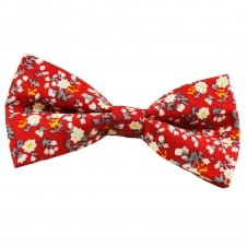 Red Floral Pattern Cotton Men's Bow Tie