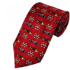 Red Formula One Racing Cars Silk Tie