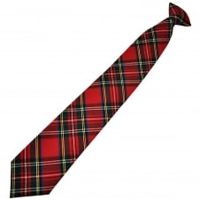Red, Green, Blue, White & Yellow Tartan Wool Blend Men's Clip On Tie