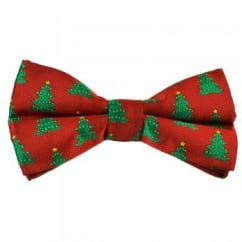 Red & Green Christmas Tree Novelty Christmas Bow Tie