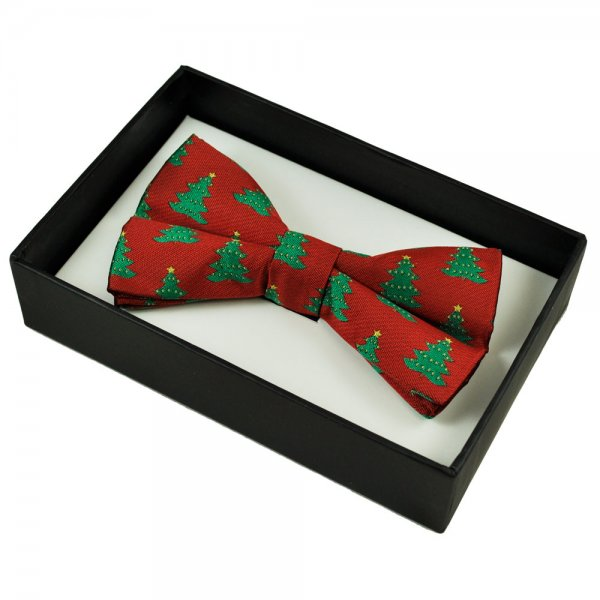 Red & Green Christmas Tree Novelty Christmas Bow Tie From