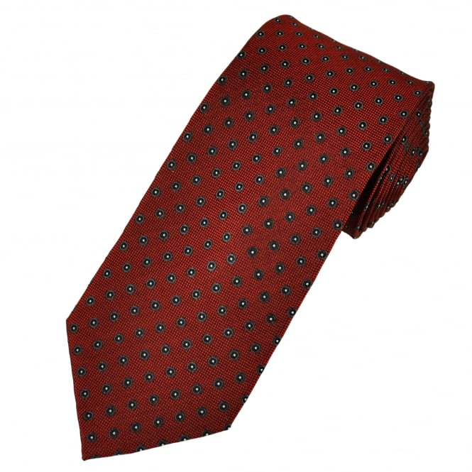 Red, Grey & Silver Circle Patterned Men's Silk Tie