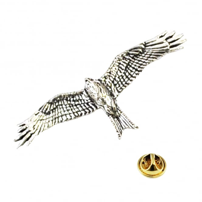 Red Kite Bird English Pewter Lapel Pin Badge