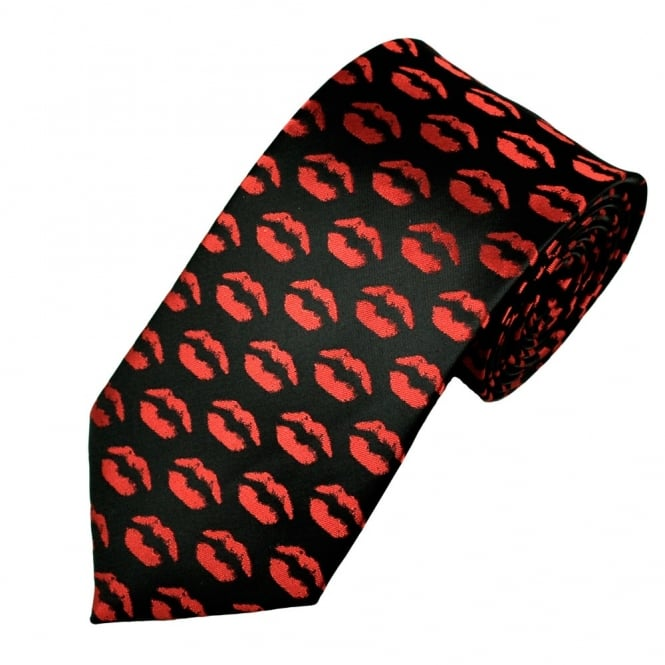 Red Lips on Black Novelty Tie
