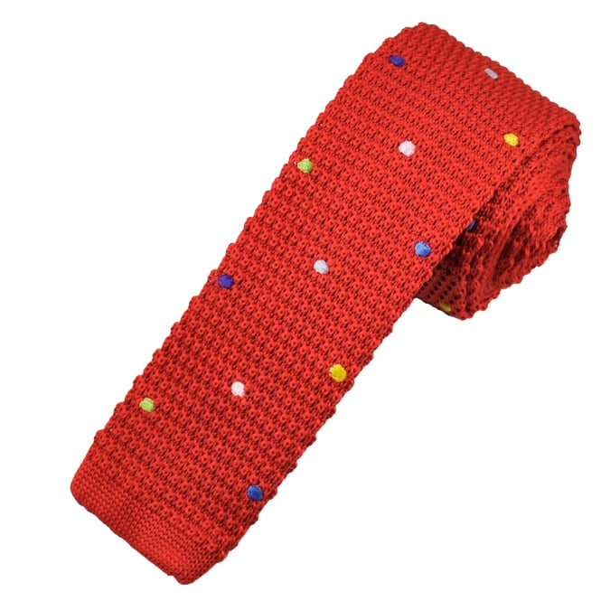 Red & Multi Coloured Polka Dot Knitted Skinny Tie