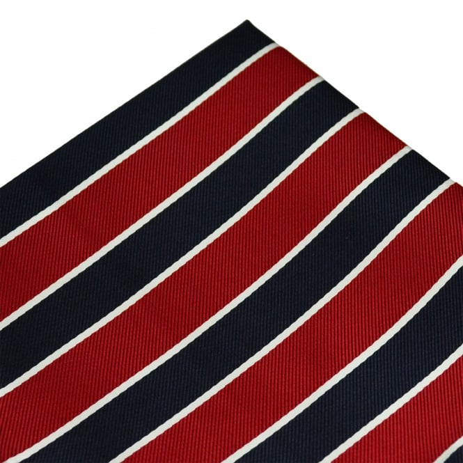 Red, Navy Blue & White Striped Pocket Square Handkerchief