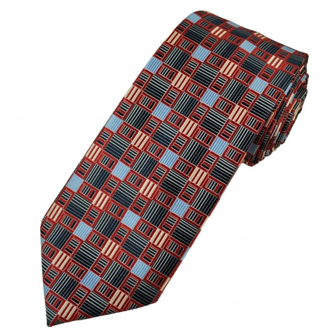 Red, Navy, Sky Blue & Silver White Patterned Men's Tie
