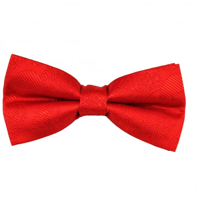 Red Paisley Patterned Boys Bow Tie
