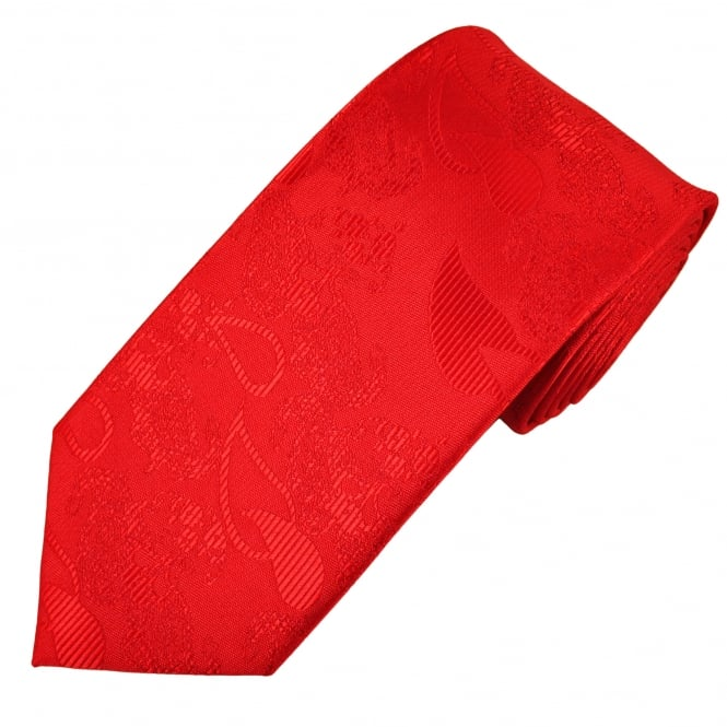 Red Paisley Patterned Men's Tie