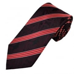 Red Paisley Striped Men's Silk Tie