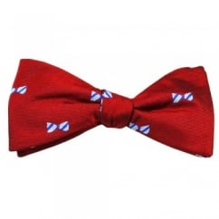 Red, Royal, Blue & Silver Dickie Bow Patterned Men's Silk Bow Tie