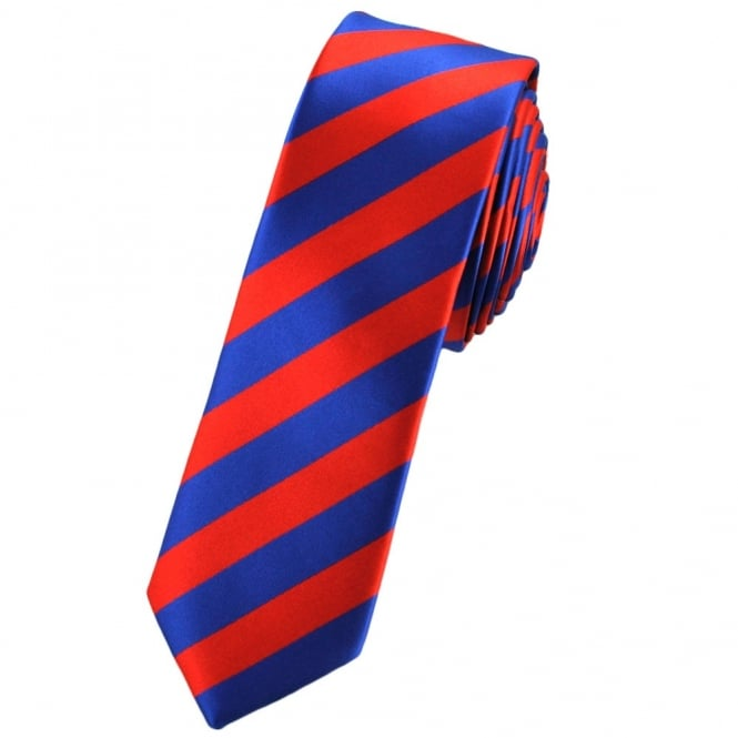 Red & Royal Blue Striped Skinny Tie