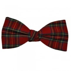 Red Royal Stewart Tartan Patterned Bow Tie by Van Buck
