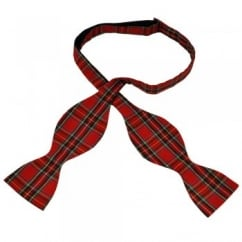 Red Royal Stewart Tartan Patterned Self Tie Bow Tie