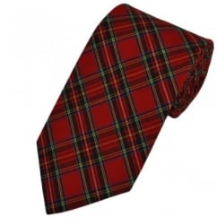 Red Royal Stewart Tartan Patterned Tie by Van Buck
