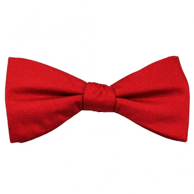 Red Self Patterned Men's Silk Bow Tie