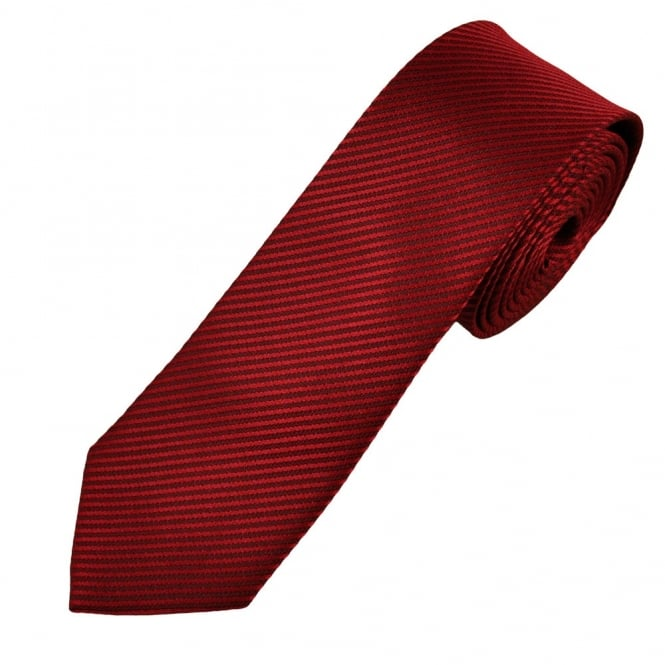 Red Self Striped Skinny Men's Tie