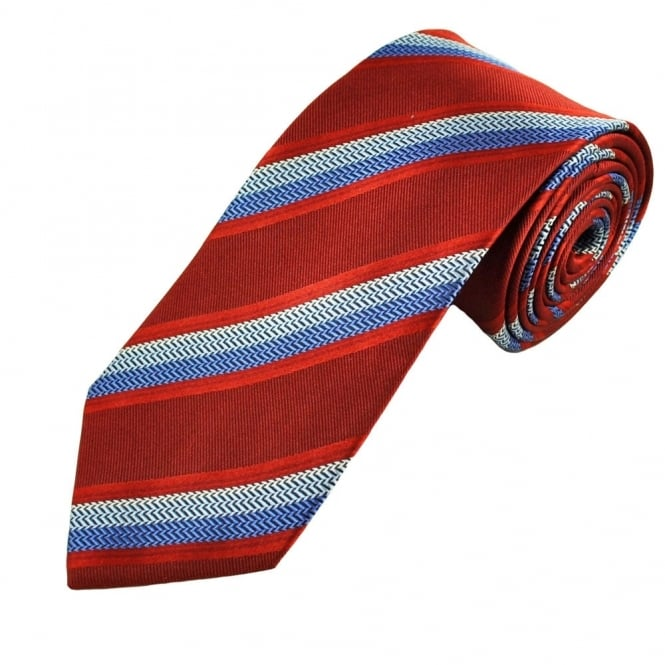 Red & Shades of Blue Stripe Patterned Men's Silk Tie