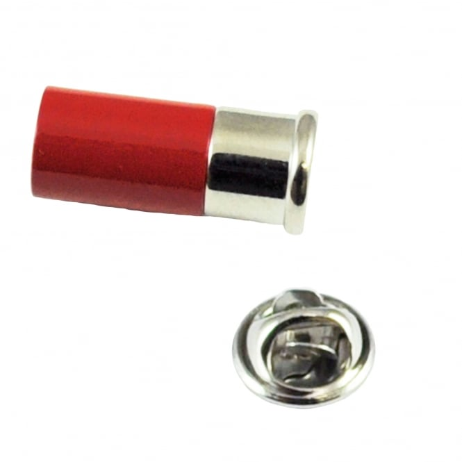 Red Shotgun Cartridge Lapel Pin Badge