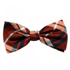 Red, Silver & Navy Blue Checked Silk Bow Tie