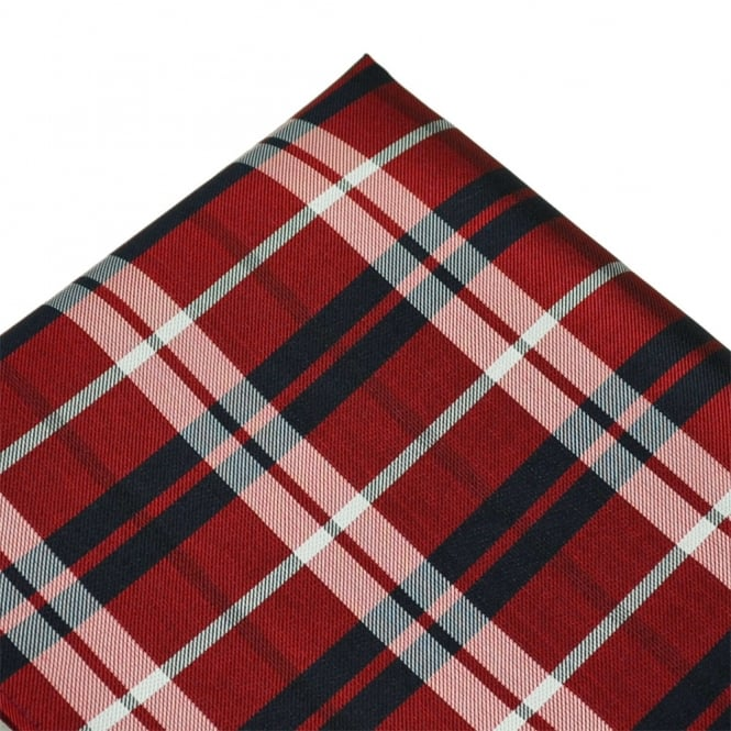 Red, Silver & Navy Blue Checked Silk Pocket Square Handkerchief