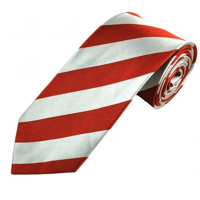Red & Silver Striped Men's Silk Tie