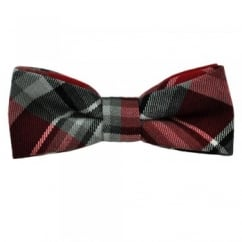 Red & Silver Tartan Patterned Cotton Bow Tie