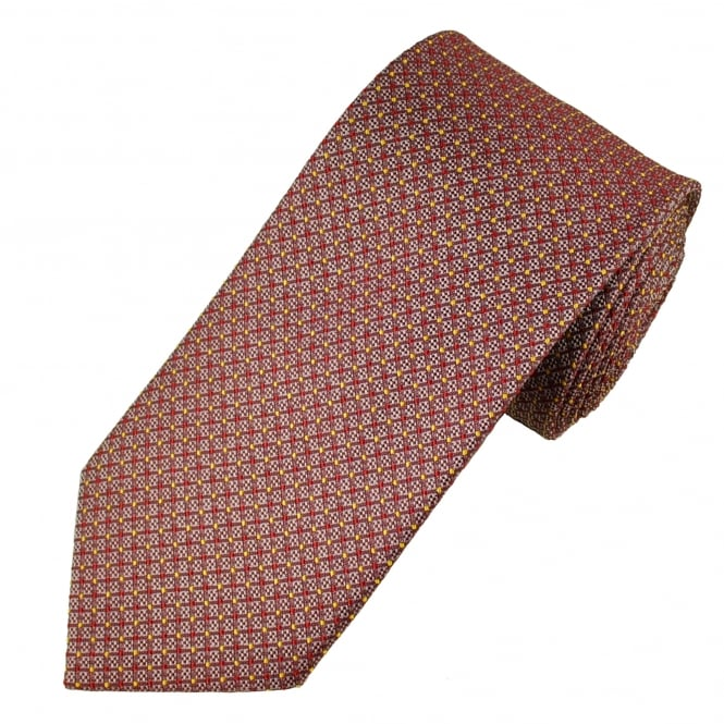 Red, Silver & Yellow Patterned Men's Tie