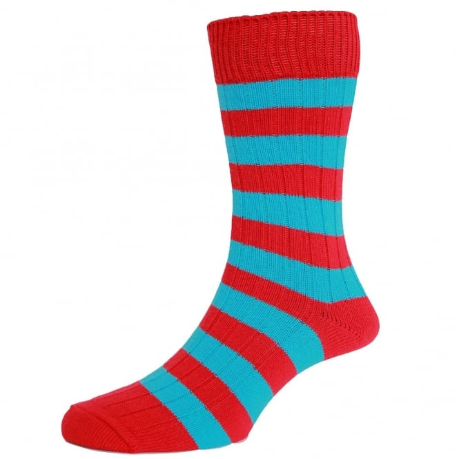 Red & Turquoise Blue Striped Men's Socks by HJ Hall