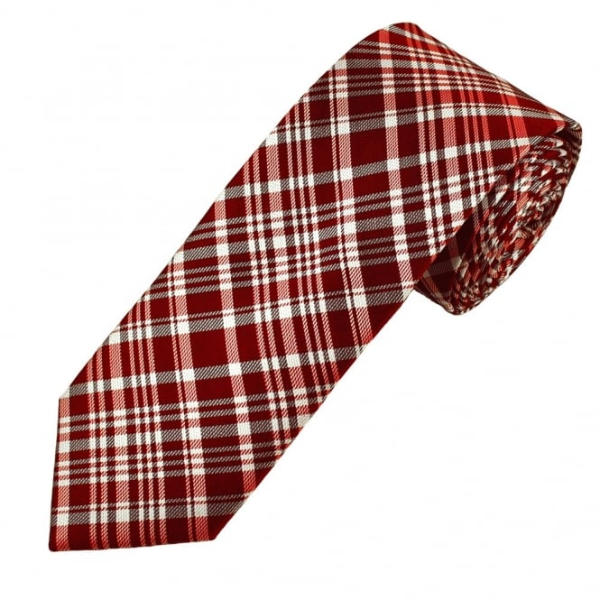 Red, White & Black Checked Luxury Narrow Silk Tie
