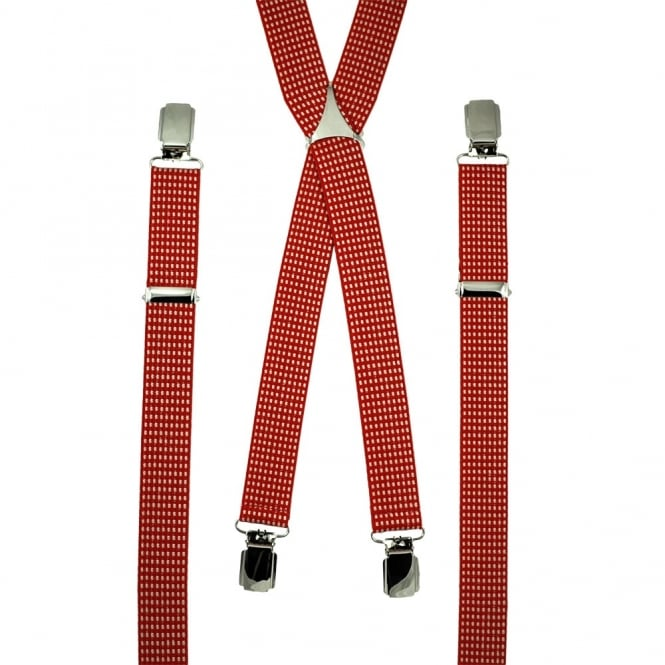 Red & White Checked Skinny Trouser Braces
