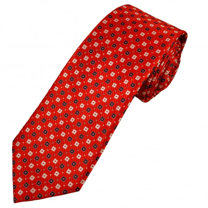 Red, White & Dark Blue Square Patterned Men's Tie