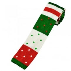 Red, White & Green Stripes & Spots Christmas Silk Knitted Tie