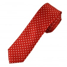 Red & White Polka Dot Boys Skinny Tie