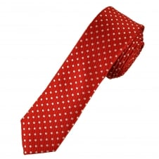 Red & White Polka Dot Men's Skinny Tie