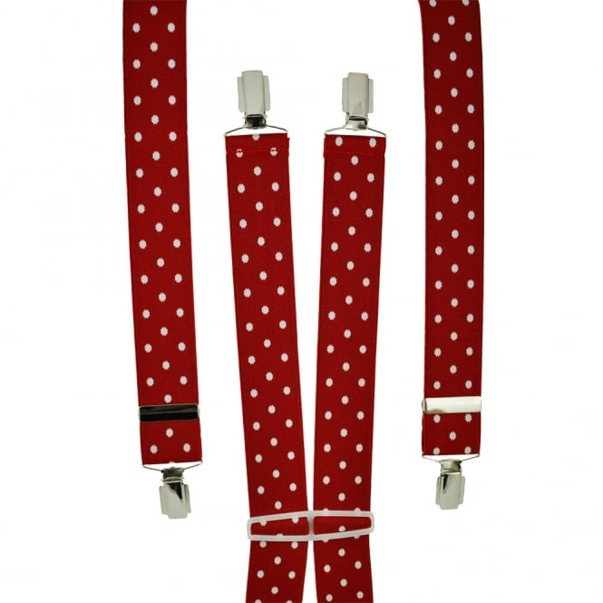 Red & White Polka Dot Men's Trouser Braces