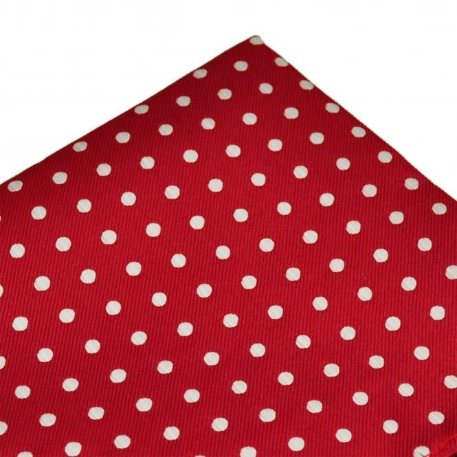 Red & White Polka Dot Pocket Square Handkerchief