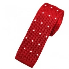 Red & White Polka Dot Silk Knitted Tie