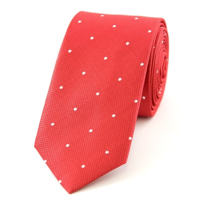 Red & White Polka Dot Silk Skinny Tie