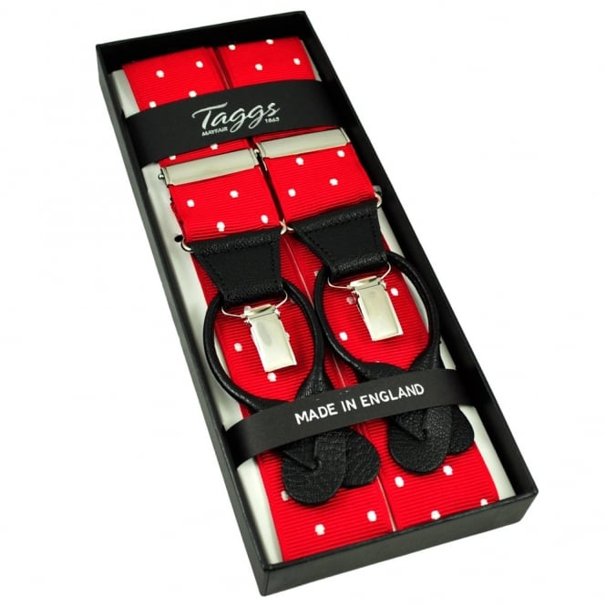 Red & White Polka Dot Trouser Braces (with Black Leather Dual 2 in 1 Button and Clip Attachment)