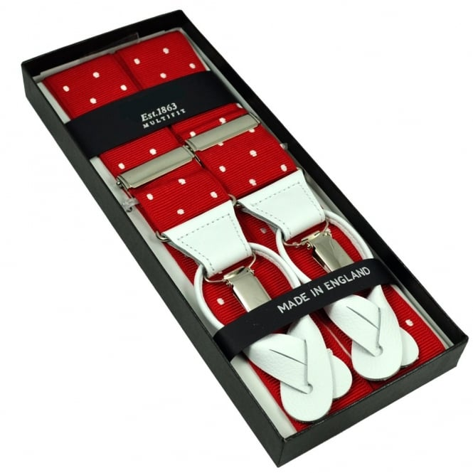 Red & White Polka Dot Trouser Braces (with White Leather Dual 2 in 1 Button and Clip Attachment)