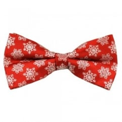 Red & White Snowflake Novelty Christmas Bow Tie