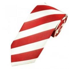 Red & White Striped Men's Silk Tie