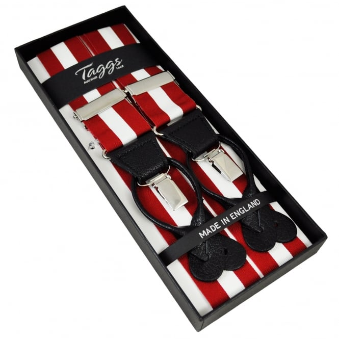 Red & White Striped Trouser Braces (with Black Leather Dual 2 in 1 Button and Clip Attachment)