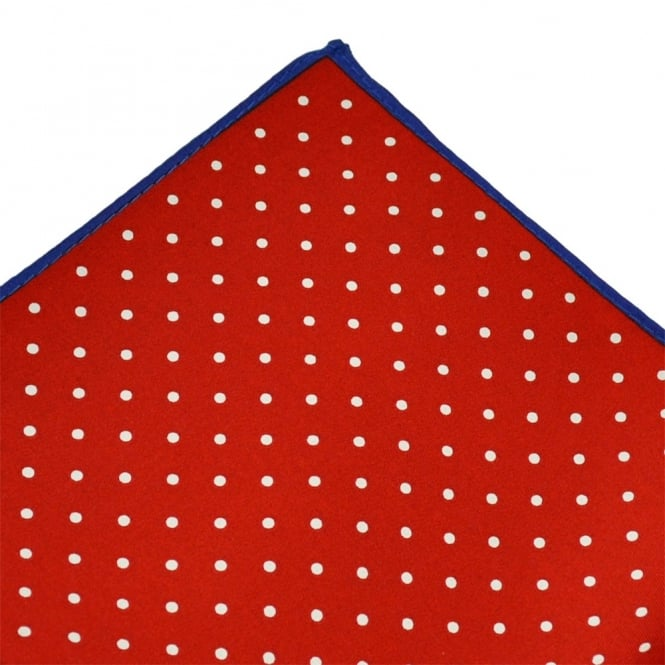 Red & White with Blue Edge Polka Dot Silk Pocket Square Handkerchief